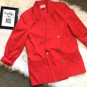 Vintage Red Power Suit Womens Blazer Gold Buttons